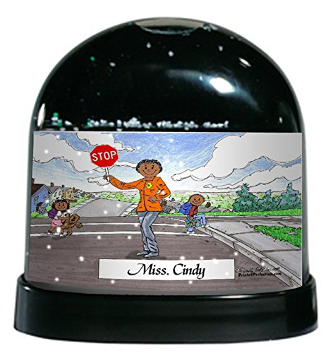 Personalized Friendly Folks Cartoon Caricature Snow Globe Gift: Crossing Guard - Female Great for school safety