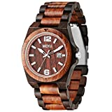 MEKU Men's Wood Watch Two-tone Sandalwood Quartz Wrist Watch Birthday Wedding Anniversary Gifts