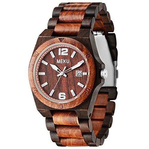 MEKU Mens Wood Watch Two Tone Sandalwood Quartz Wrist Birthday Wedding Anniversary Gifts