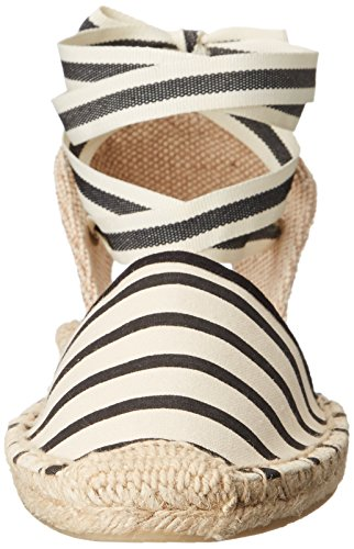 Soludos Women's Classic Stripe Sandal, Natural Black, 8 B US