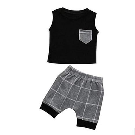 Naisicatar verano de los bebés traje gris a cuadros bolsillo ...