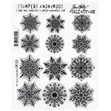 """Stampers Anonymous Mini Swirley Snowflakes Tim Holtz Cling Stamps, 7"""" x 8.5"""""""
