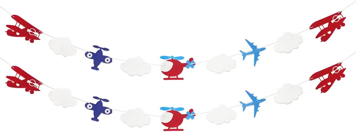 Airplane and Clouds Garland Banner for Airplane Themed Birthday Baby Shower Up Up and Away Party Supplies Decorations