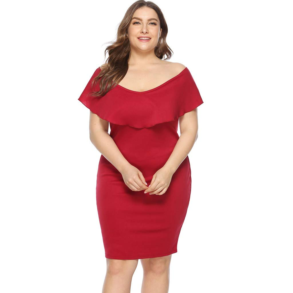 ZOMUSAR 2019 Women Plus Size Sexy Cold Shoulder Dress Solid Ruffle Pleated Mini Dress Red by ZOMUSAR (Image #4)