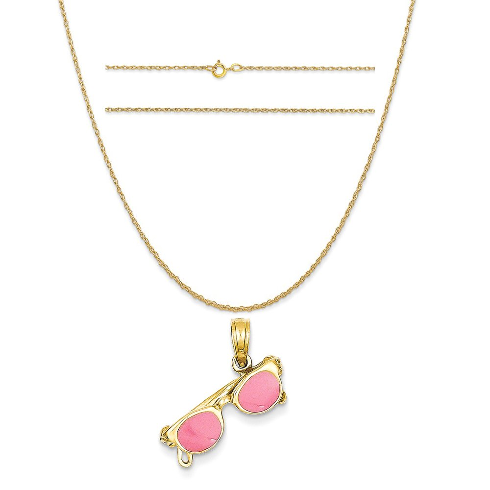 14k Yellow Gold 3-D Pink Enameled Moveable Sunglasses Pendant on 14K Yellow Gold Rope Necklace, 18'' by K&C