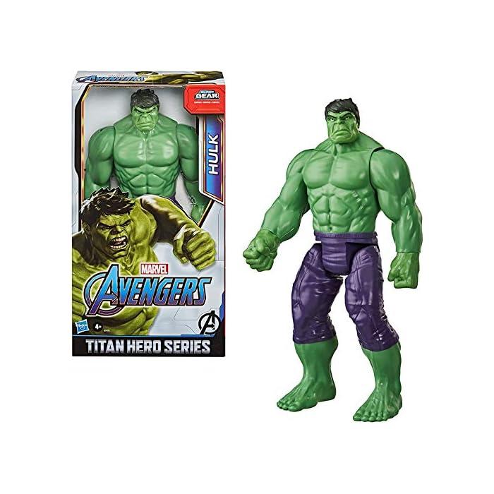 51XShO Imagina a bruce banner convirtiéndose en el enorme héroe verde hulk con esta figura de hulk de 30.cm, inspirada en el diseño clásico del personaje de los cómics de marvel Los fans pueden imaginar al extremadamente fuerte hulk echando abajo muros y lanzándose a la aventura con esta figura de hulk, inspirada en el personaje de los cómics de marvel Conecta el lanzador blast gear (no incluido, se vende por separado con las figuras titan hero blast gear) al puerto posterior de las figuras titan hero series y titan hero blast gear para lanzar proyectiles con tan solo pulsar un botón
