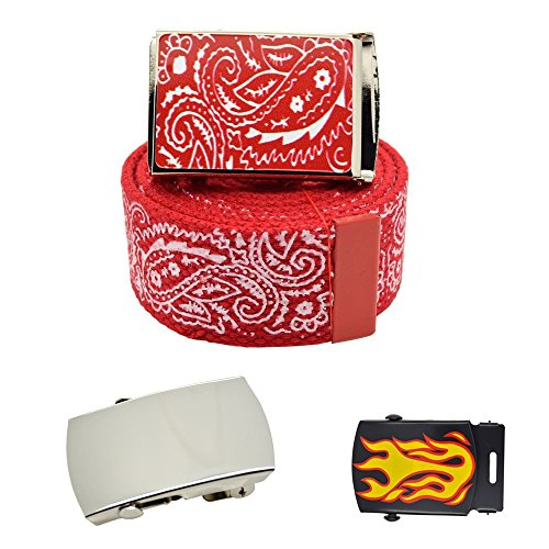 "Canvas Military ""Red"" Bandana Pattern Web Belt & Buckle 60 inches"
