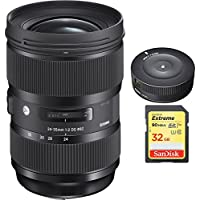 Sigma 24-35mm F2 DG HSM Standard-Zoom Lens for Nikon Cameras (588955) with Sigma USB Dock for Nikon Lens & Sandisk 32GB Extreme SD Memory Card