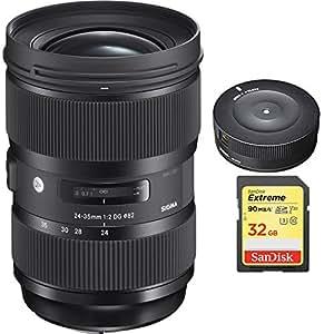Sigma 24-35mm F2 DG HSM Standard-Zoom Lens for Nikon Cameras (588955) with Sigma USB Dock for Nikon Lens & Sandisk 32GB Extreme SD Memory Card