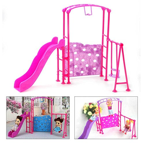 Shalleen Miniature Playground Playset Slides Climber Swing For Barbie Kelly Dolls House