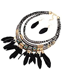 Feather Pendant Multi Layers Tribal Bib Necklace Statement Earring Set Collier