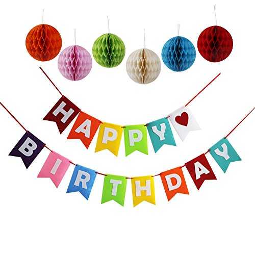 Happy Birthday Streamer (Threemart Happy Birthday Decoration Banner With Colorful Tissue Pom Pom Ball)