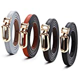 4 Pack HBY Women Casual Skinny Leather Thin Dress Belts for Jeans Short Pants