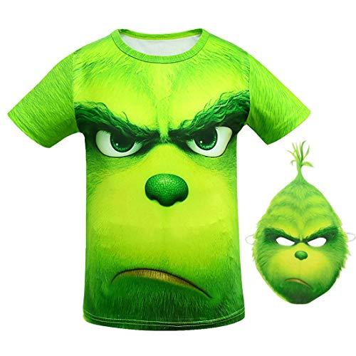 YANGGO Children Kids 3D Grinch Costume Zipper Hoodie Sweatshirt Pullover Hooded Shirt Outwear Jacket (A-Shirt, 6)