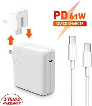 61W USB-C Power Adapter Charger Compatible with MacBook 12 Inch MacBook 13 Inch 6.56ft//2m MacBook Air 2018 with Type C Charge Cable