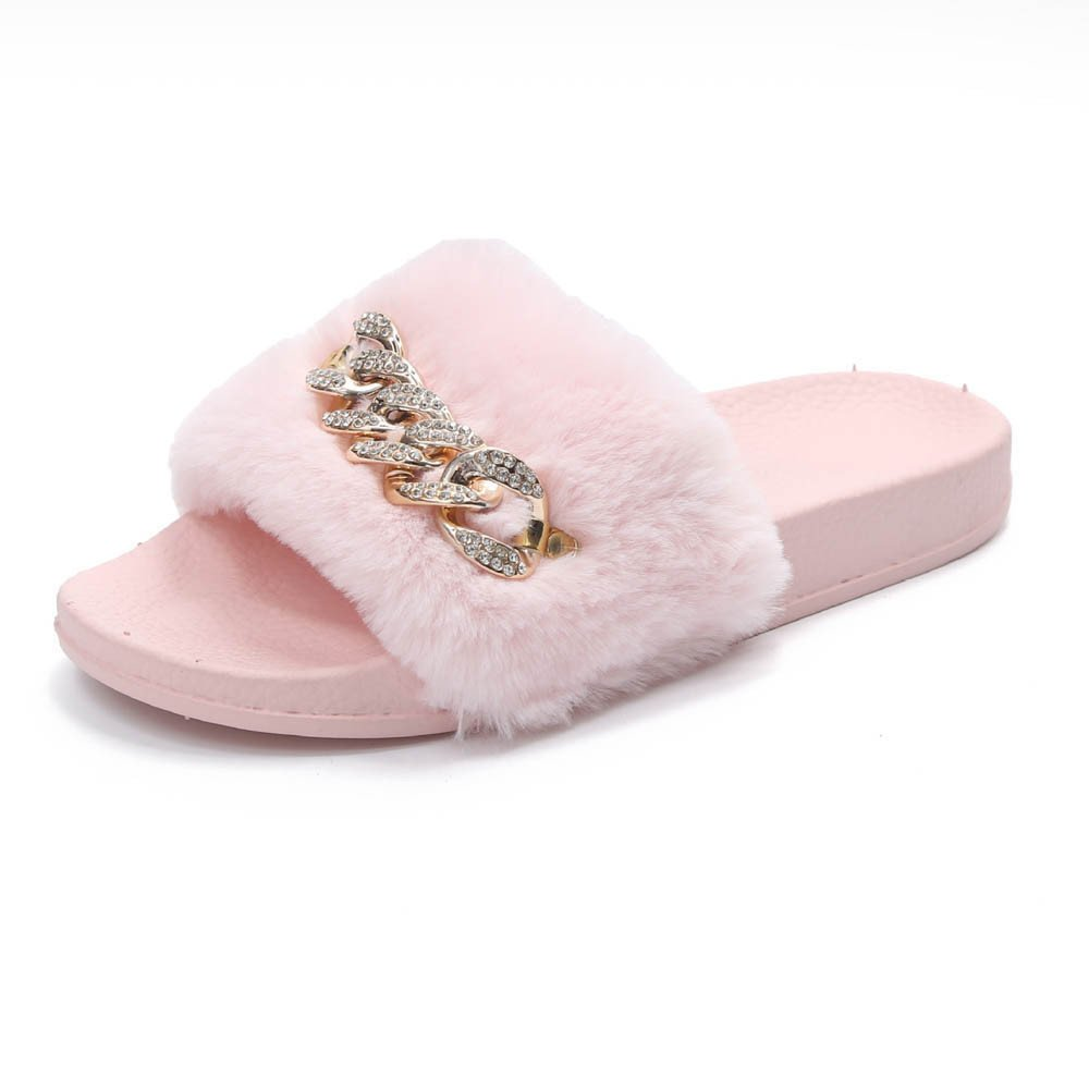 Saingace Faddish Furry Slide with Shinning Chain Sexy Slip On Flats for Women Girls Fluffy Slippers Sandals Inner Street Style Fashion Icon US(5.5), Pink