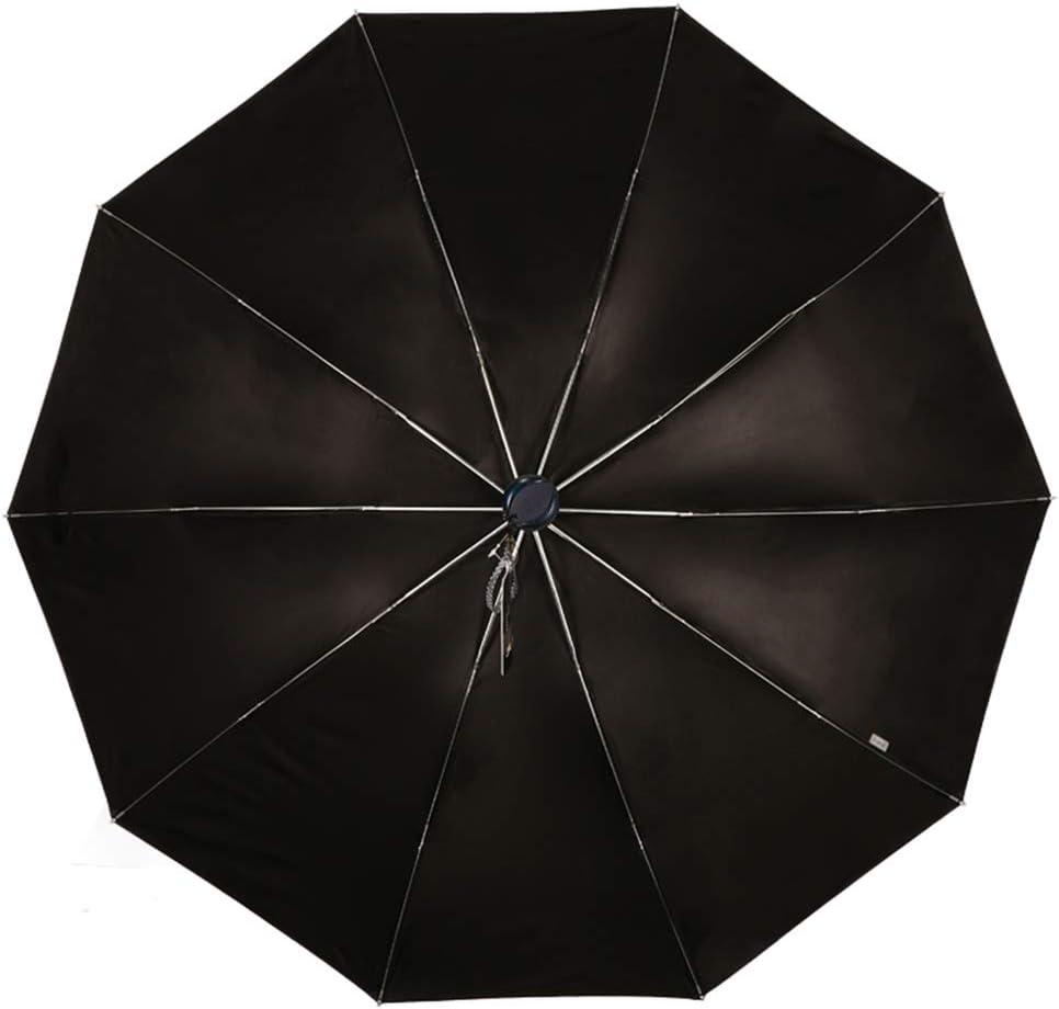 Black Gum Rain and Sun Umbrella,Sunshade Umbrellas for Men and Women UV Protection Paradise Umbrella Three Folding Umbrella Coffee