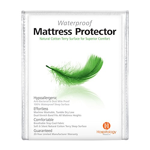 HOSPITOLOGY PRODUCTS Waterproof & Hypoallergenic Natural Cotton Mattress Protector 20-Year Warranty, Fitted-Sheet Style, 60-Inch by 80-Inch, Queen