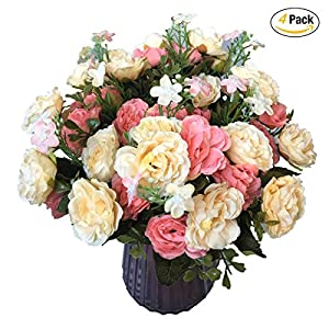 CATTREE Artificial Roses Flowers, Plastic Plants Silk Fake Rose Wedding Bridal Bouquet Party Indoor Outdoor DIY Home Garden Verandah Office Table Centerpieces Arrangements Decoration 51