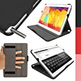 """iGadgitz Premium Executive Black PU Leather Case Cover for Samsung Galaxy Note 10.1"""" SM-P600 and TabPRO 10.1"""" SM-T520 with Hand Strap + Multi-Angle Viewing Stand + Auto Sleep/Wake + Screen Protector"""