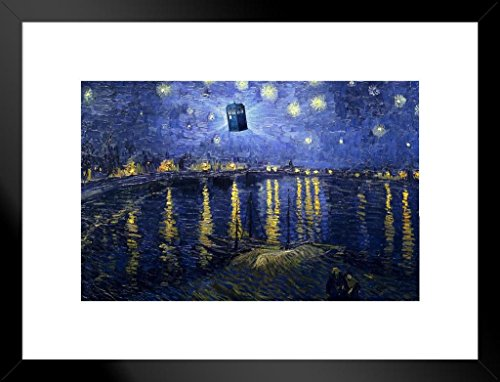 Framed Art Rhone (Poster Foundry Tardis Starry Night Over The Rhone Van Gogh Art Humor Matted Framed Wall Art Print 20x26 inch)