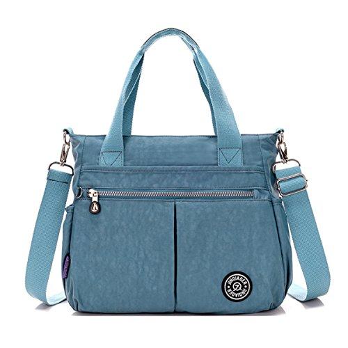 Tiny Chou wasserabweisend Nylon Handtasche Crossbody Messenger Bag mit abnehmbarer Schultergurt Grau