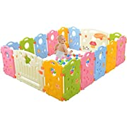 Baby Playpen Kids Activity Area - Multicolor 16-Panel Set Indoor and Outdoor Play Yard