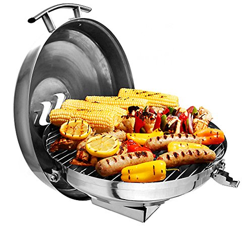 Camco Kuuma Premium Stainless Steel Kettle Gas Grill by Compact Portable Size Perfect for Boats, Tailgating and More - Stow N Go 160