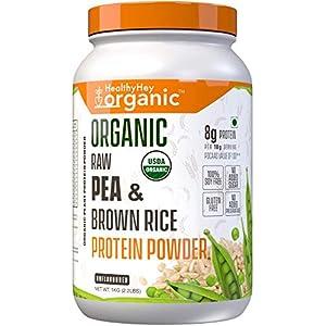 HealthyHey Organic Raw Pea & Brown Rice Protein Isolate – 100% Plant Protein Powder – Non GMO & Gluten Free – 1kg…