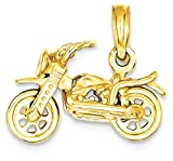 ICE CARATS 14k Yellow Gold 3 D Moveable Motorcycle Pendant Charm Necklace Travel Transportation Fine Jewelry Gift Set For Women Heart
