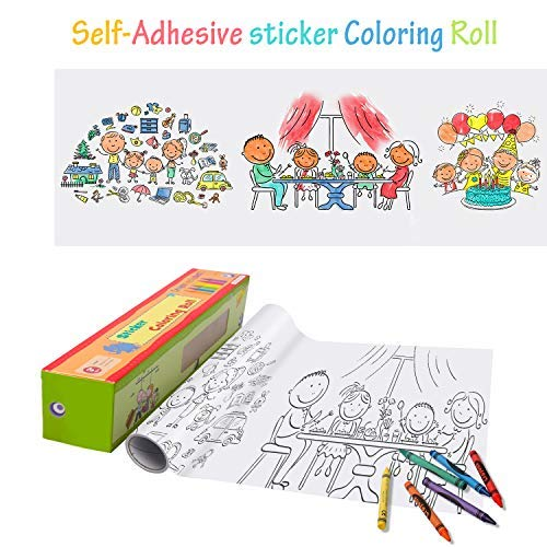 Markkeer Coloring Poster, 15 Foot Kids Family Joyful Time self Stick Coloring Roll Continuous Coloring Paper, Great for Group Coloring Wall Poster for Age 3+ (Kid&Family Time)