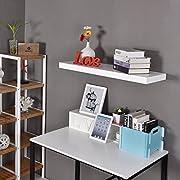 WELLAND Grande Floating Wall Shelf Display Floating Shelf (Approx 23-3/4 L x 11-3/4 D x 2 T, Off White)