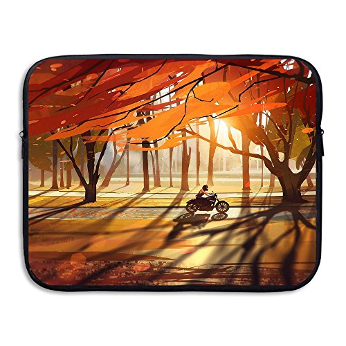 Laptop Sleeve Bag Autumn Trees Forest Motorcycle Waterproof Computer Bag Zipper Notebook Case 13 -