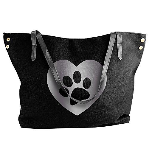 Dog Paw Print Heart Platinum Style Women Shoulder Bags