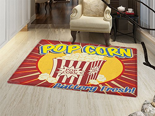 Retro Bath Mat for tub Vintage Grunge Pop Corn Commercial Print Old Fashioned Cinema Movie Film Snack Artsy Door Mats for inside Bathroom Mat Non Slip Backing Multicolor by smallbeefly