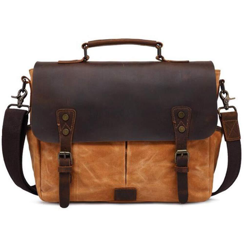BOHENG Skulder taske, mænds skuldertaske, Retro skøre heste læder mand taske, Olie voks bærbar taske mand, spejlreflekskamera taske, bærbar, vandtæt, stødtæt (mør