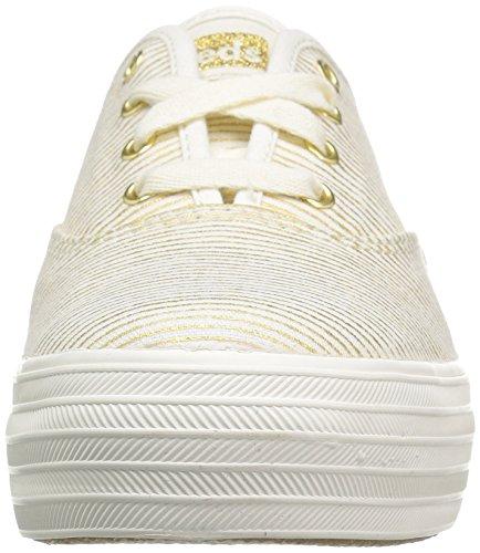 Zapatillas De Deporte Keds Mujeres Triple Metallic Stripe Fashion Natural / Gold