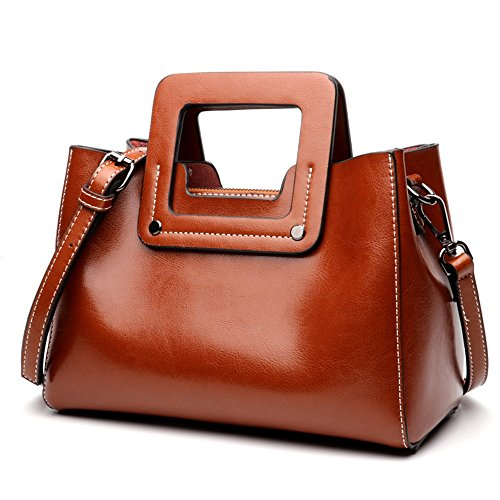 Messenger Handbags Wax Portable And Tote Oil Shoulder Xuanbao Leather Simple Bag Women's Practical qwHAY