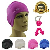 Premium Long Hair Swim Cap For Men & Women, Lady, Boys & Girls With Beautiful Design - The Best Swim Cap On The Market – Free Nose Clip & Ear Protection. (Purple)