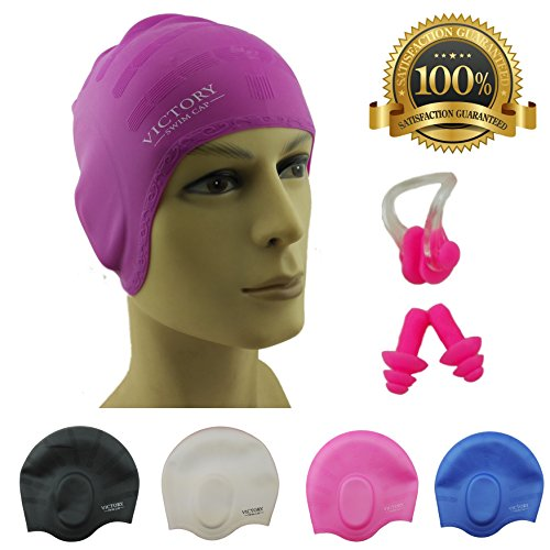 #1 Swimming Cap For Adult Men & Women, Boys & Girls. Specially Designed for Swimmers with Long, Thick, Curly Hair - The Best Silicone Swim Cap On Amazon – Free - Swim Of Best Cap Type