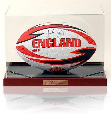 MARTIN OFFIAH Inglaterra Rugby pelota firmada mano: Amazon.es ...