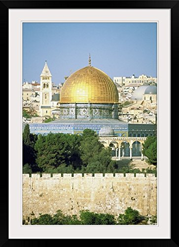 GreatBIGCanvas ''Dome of The Rock Muslim Shrine, Jerusalem, Israel '' Photographic Print with black Frame, 24'' X 36'''' by greatBIGcanvas