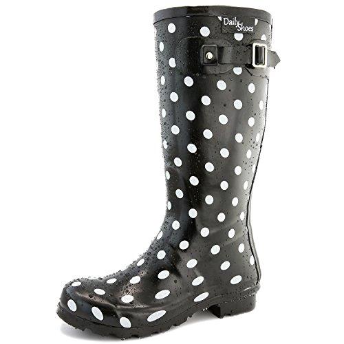 DailyShoes Damen Mittelkalb Kniestrumpf Hunter Regen Round Toe Rainboots Schwarz-Weißer Punkt