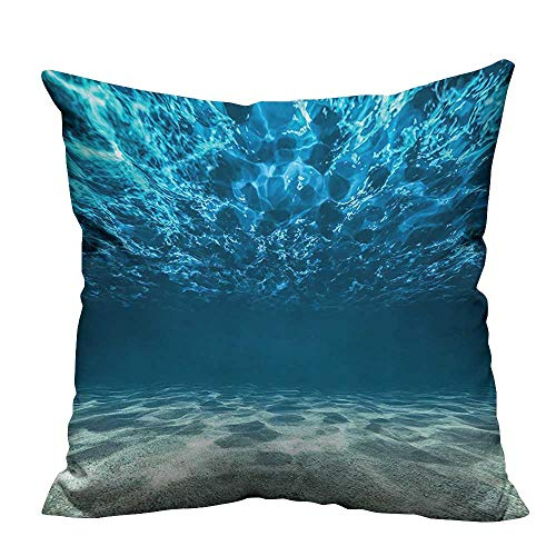 YouXianHome Decorative Throw Pillow Case Gravelly Bottom and Wavy Surface Tropical Seascape Abyss Underwater Ideal Decoration(Double-Sided Printing) 26x26 inch