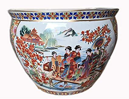 "Chino porcelana pecera macetas en Satsuma Geishas (12 ""W x 9"" ..."
