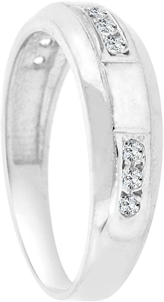 White Rhodium Plated Metal Man Guy Gent Wedding Band Ring Created CZ Crystals