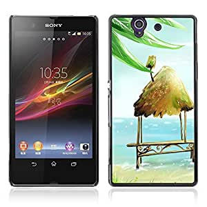 Graphic4You Hut and Coconut By The Sea Painting Design Hard Case Cover for Sony Xperia Z