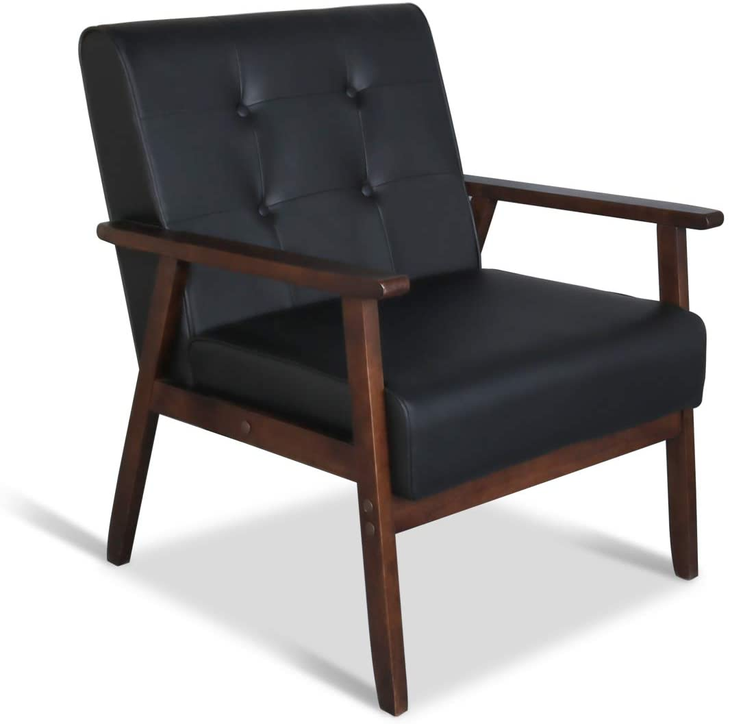 Mid-Century Retro Modern Accent Chair Wooden Arm Upholstered Tufted Back Lounge Chairs