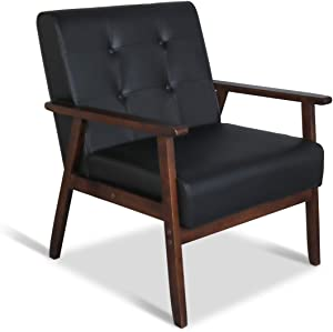 "Mid-Century Retro Modern Accent Chair Wooden Arm Upholstered Tufted Back Lounge Chairs Seat Size 24.4"" 18.3"" (Deep) (Square Leg Black)"