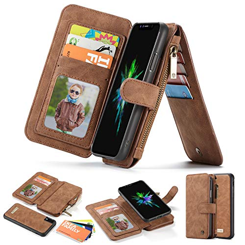 iPhone Xs Max Wallet Case,SXTBMR Premium Leather Wallet Detachable Magnetic Slim Case for iPhone Xs Max Card Holder Case Leather Wallet Folio Flip Carrying Case iPhone Xs Max - Brown